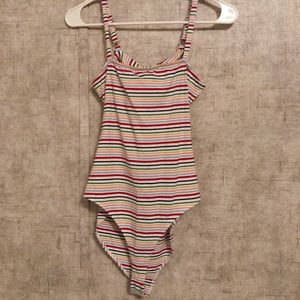Forever 21 Tops - Open-back Striped Bodysuit